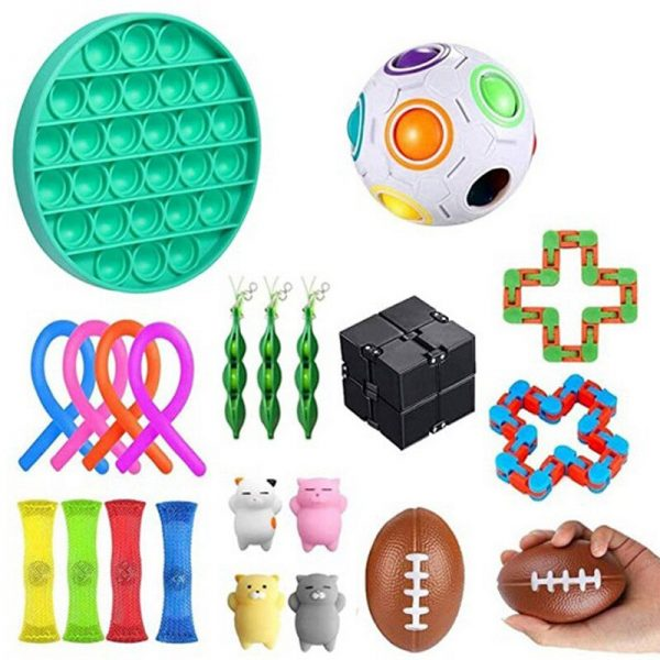 22 Pack Stress Relief Toy Set Anti Fidget Toys Push Bubble Stretchy Strings Cube Marble Mesh 1 - Wacky Track