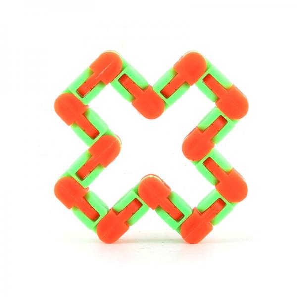 24-Knots-Green-Orange-Wacky-Tracks-Fidget-Toys-Anti-Stress