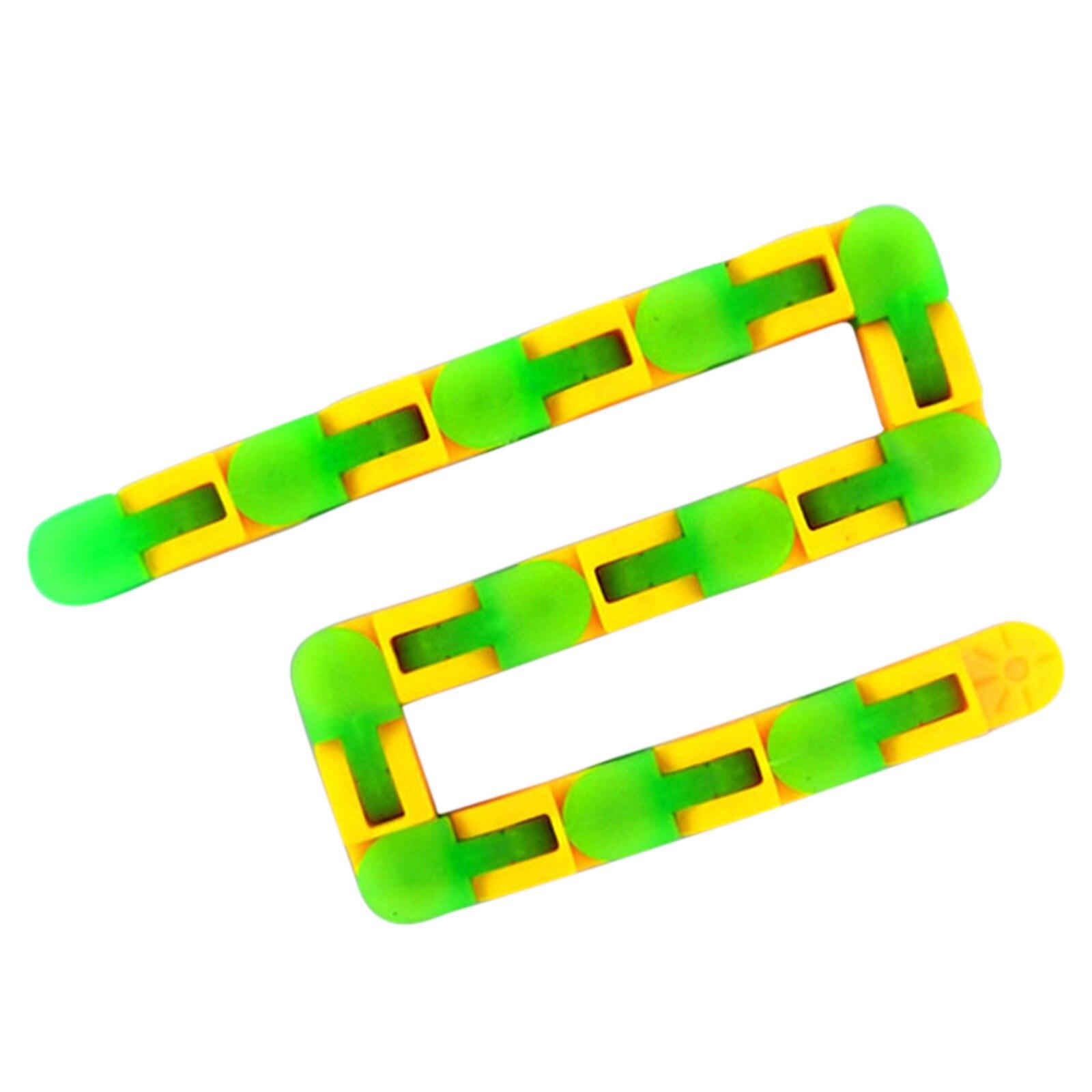 24 Knots Glow Green Yellow Wacky Tracks Fidget Toys for Stress Relief