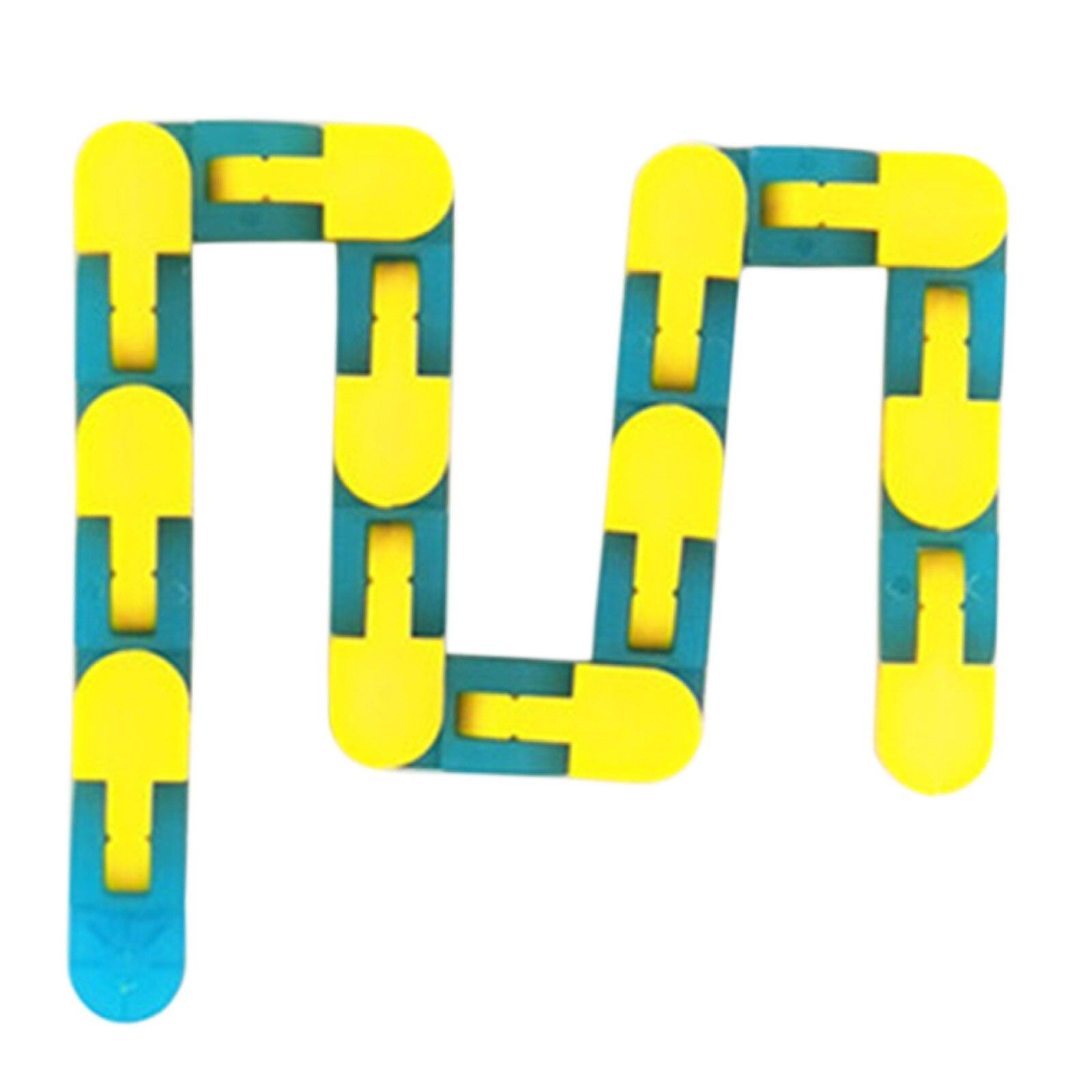 24 Knots Glow Blue Yellow Wacky Tracks Fidget Toys for Stress Relief