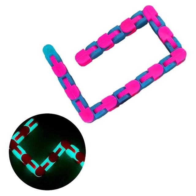 24 Links Wacky Tracks Snap And Click Fidget Toys Luminous Sensory Toy Squishy Reliever Toy - Wacky Track