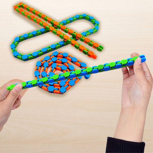 3PCS Wacky Tracks Snap And Click Fidget Toys 24 48 Knot Chain Anti Stress Sensory Toy 4 - Wacky Track