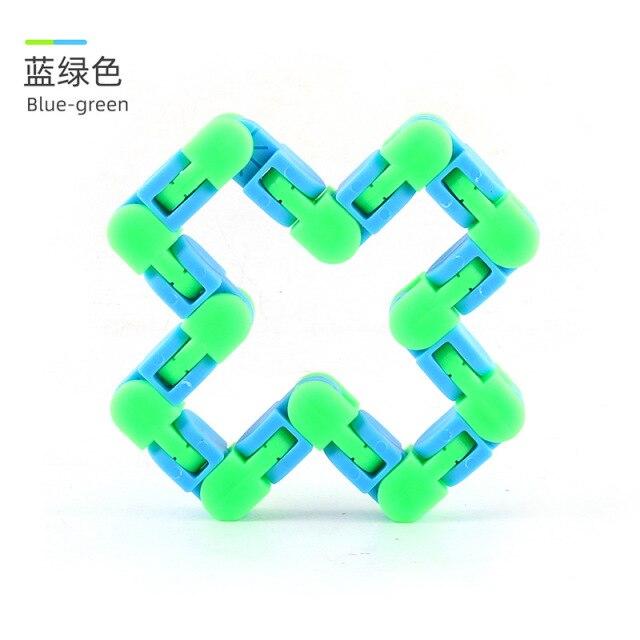 24 Knots Blue Green Wacky Tracks Fidget Toys Anti Stress
