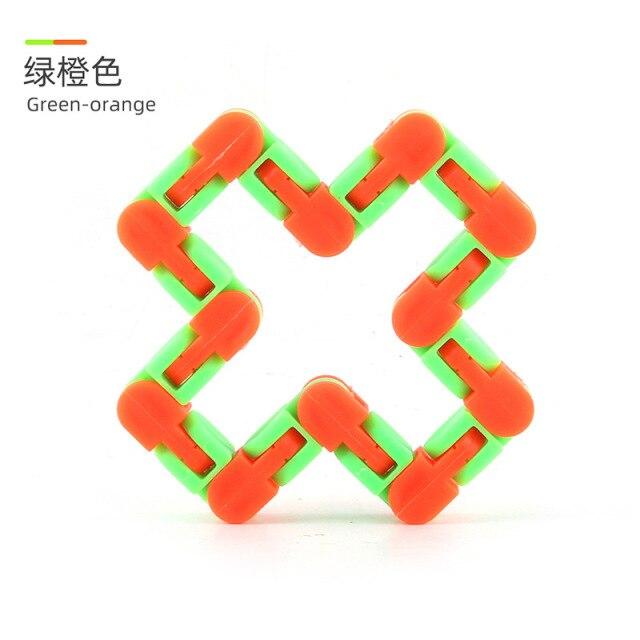 24 Knots Green Orange Wacky Tracks Fidget Toys Anti Stress