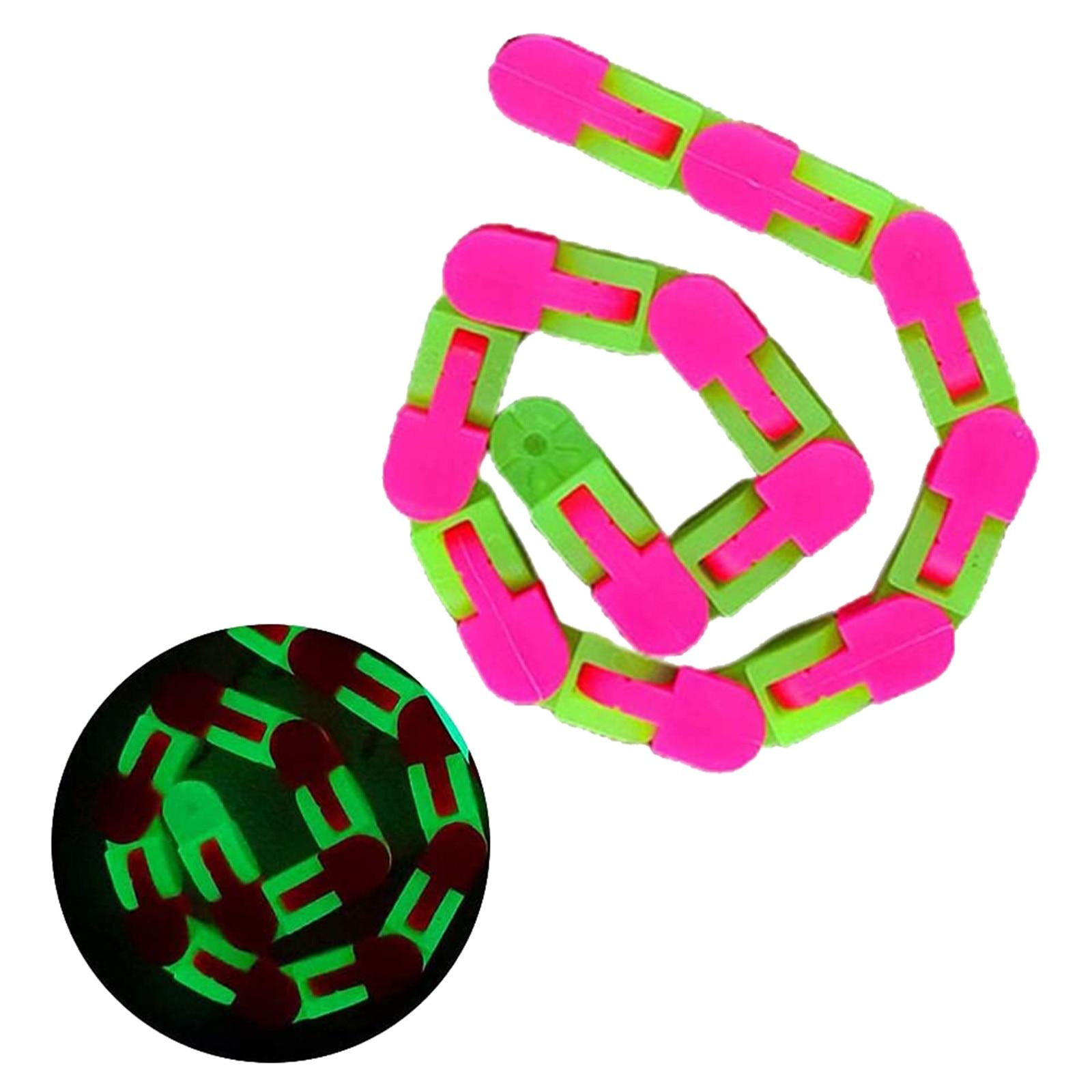 24 Knots Glow Pink Green Wacky Tracks Fidget Toys for Stress Relief