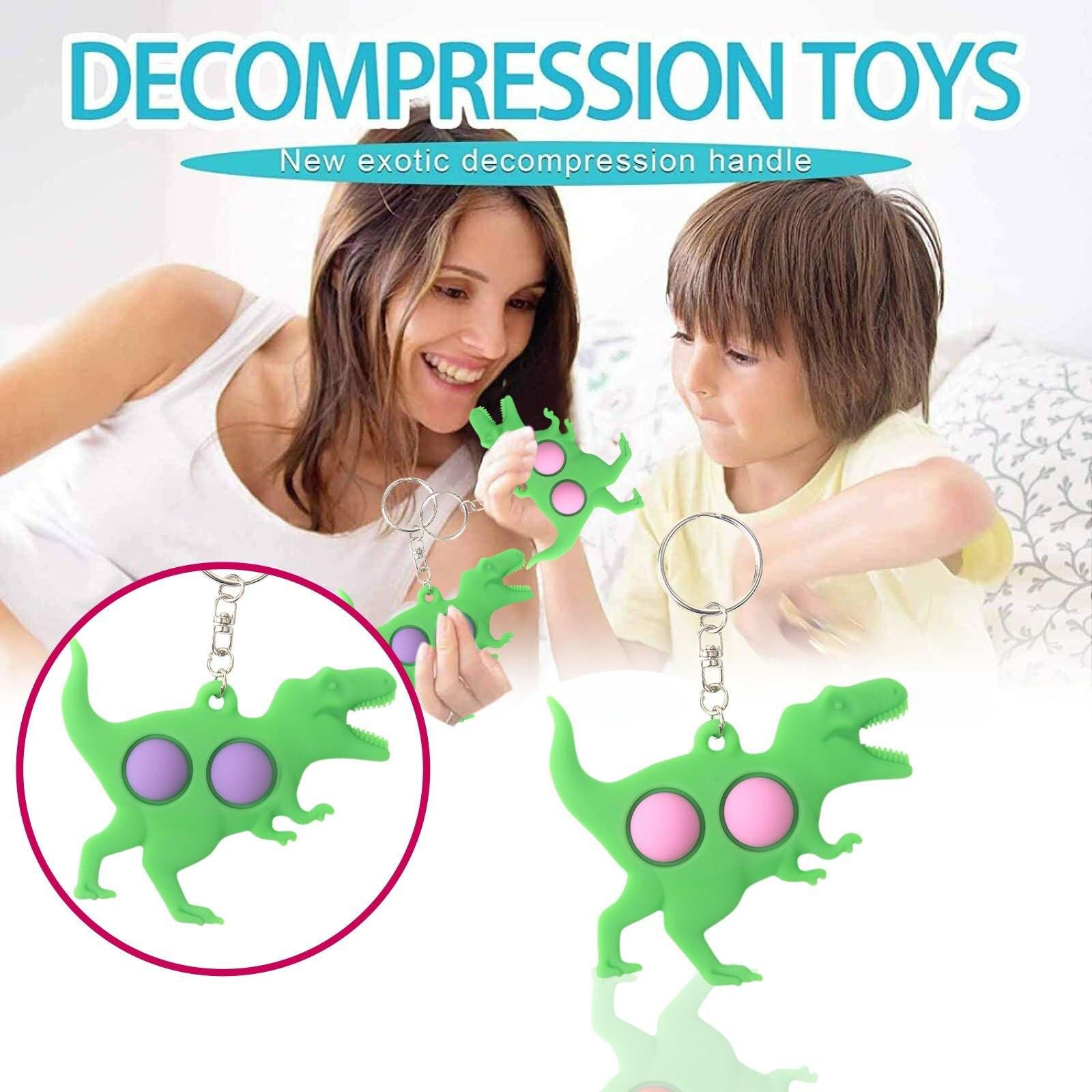 pop it 5pc toy tyrannosaurus keychain fidget toys 8865 - Wacky Track