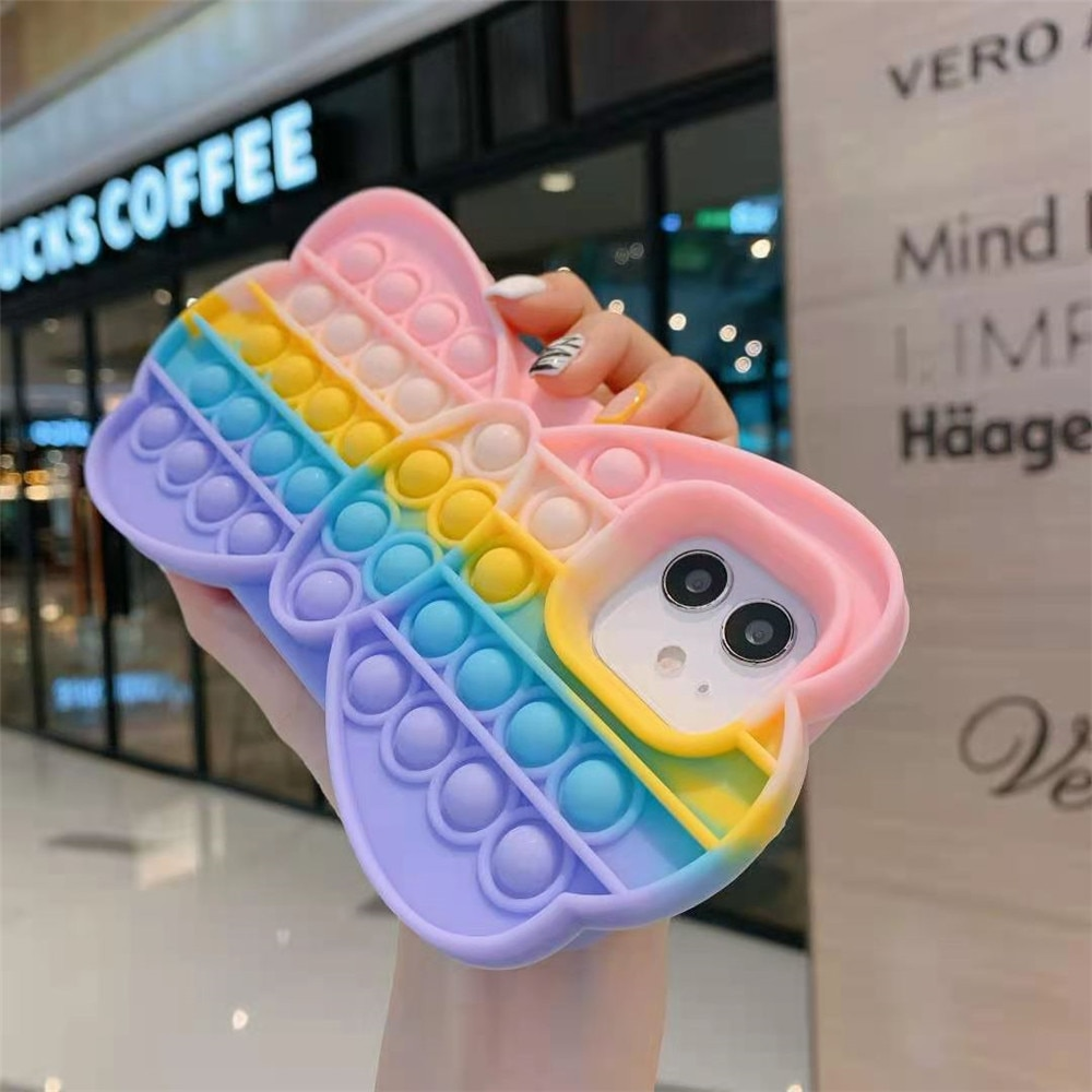 pop it anti stress butterfly silicone phone case for iphone fidget toys 4517 - Wacky Track