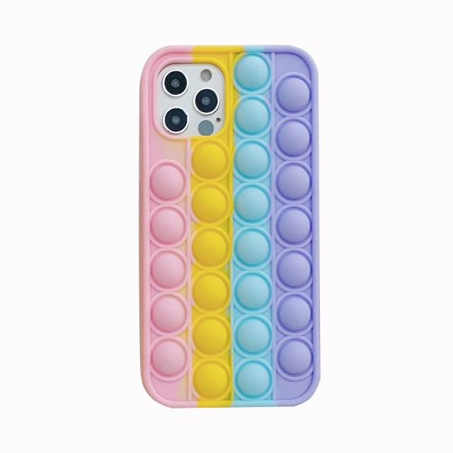 pop it anti stress multi color silicone phone case for iphone fidget toys 8672 - Wacky Track