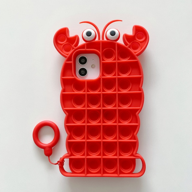 pop it anti stress red crab silicone phone case for iphone fidget toy 3094 - Wacky Track