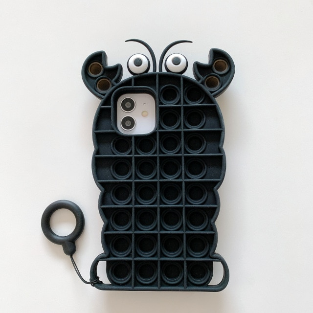 pop it anti stress black crab silicone phone case for iphone fidget toys 5190 - Wacky Track