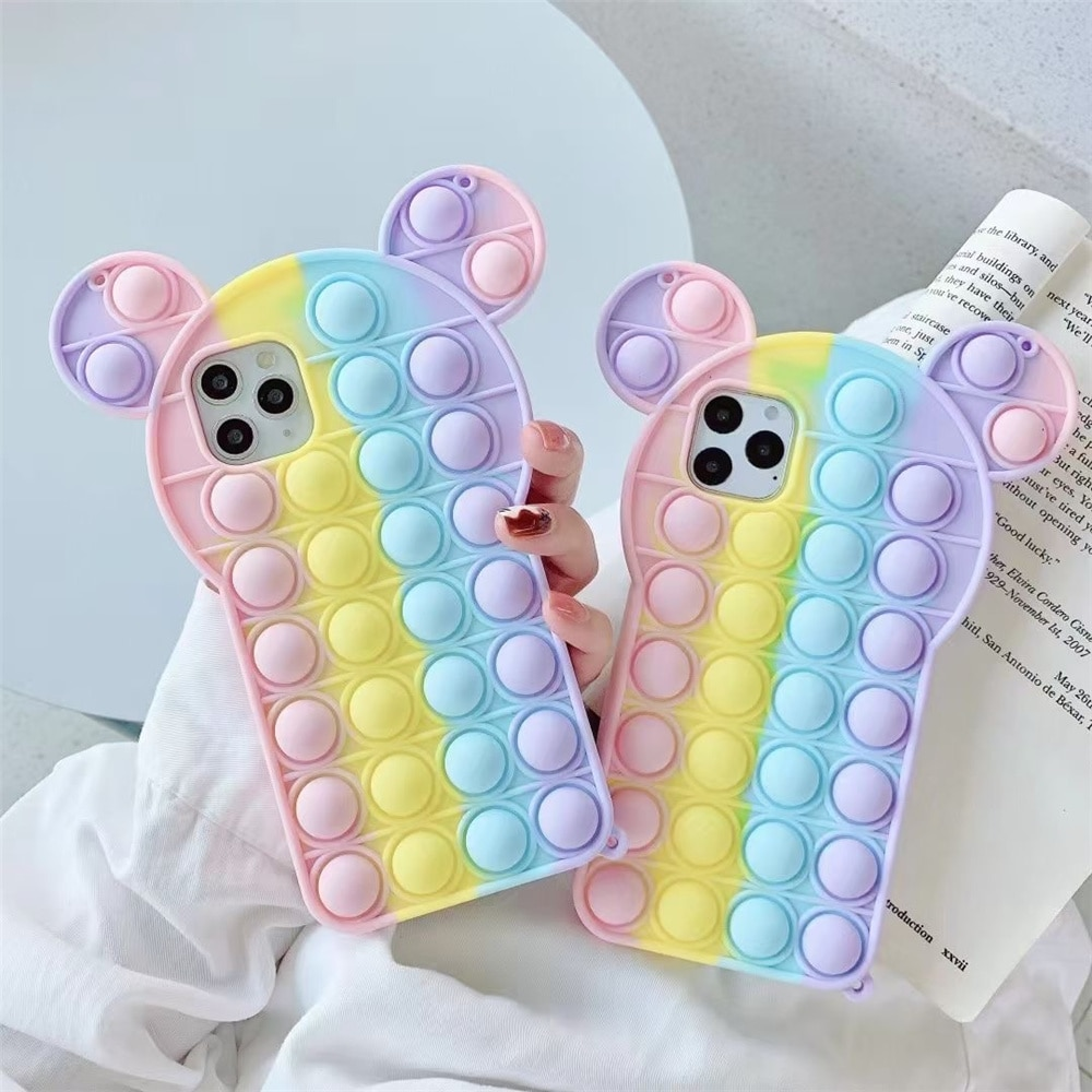 pop it anti stress mickey mouse silicone phone case for iphone fidgets toys 4028 - Wacky Track