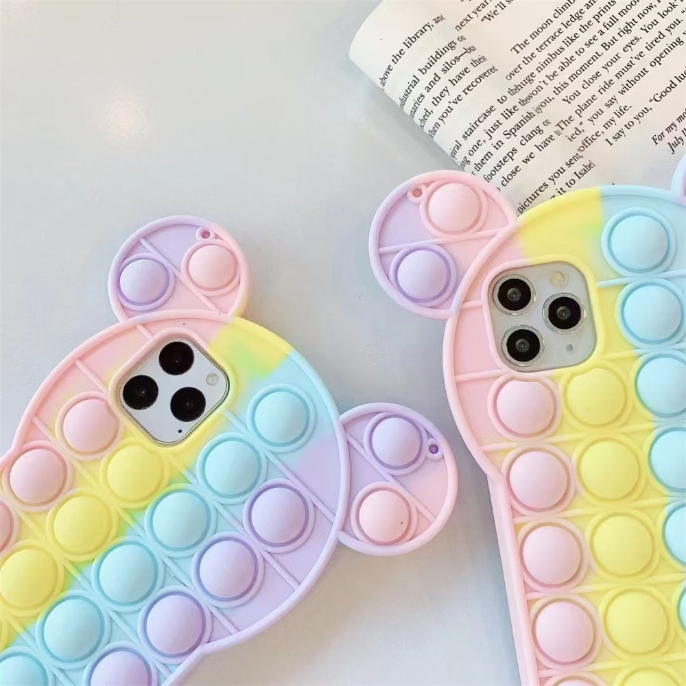 pop it anti stress mickey mouse silicone phone case for iphone fidgets toys 6218 - Wacky Track