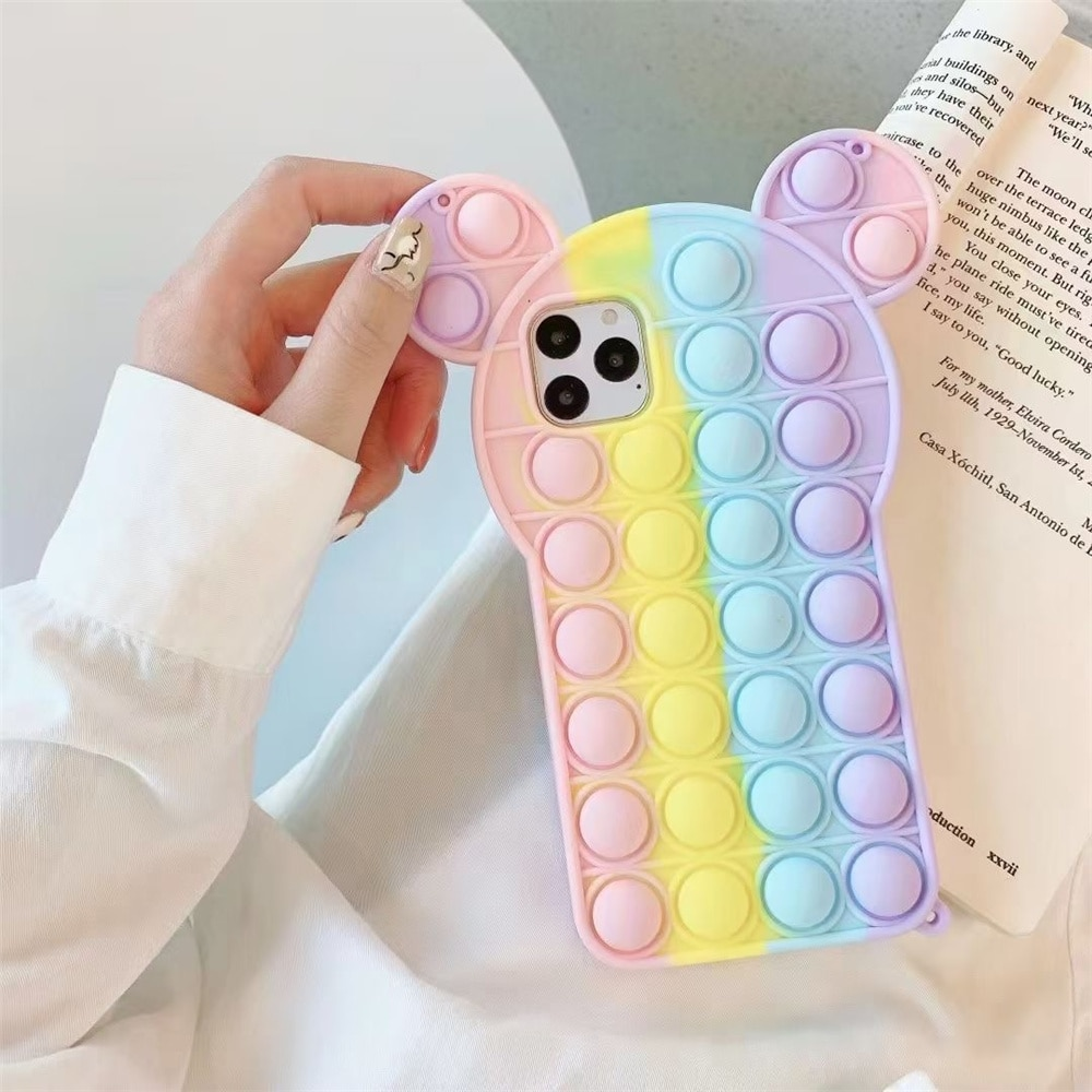 pop it anti stress mickey mouse silicone phone case for iphone fidgets toys 6887 - Wacky Track