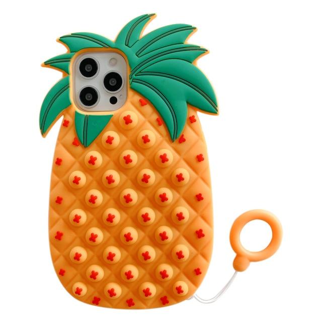 pop it anti stress orange pineapple silicone phone case for iphone fidget toys 6895 - Wacky Track