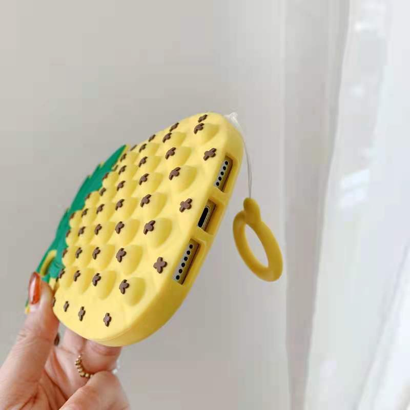 pop it anti stress yellow pineapple silicone phone case for iphone fidget toys 1918 - Wacky Track