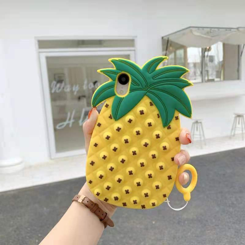 pop it anti stress yellow pineapple silicone phone case for iphone fidget toys 1958 - Wacky Track