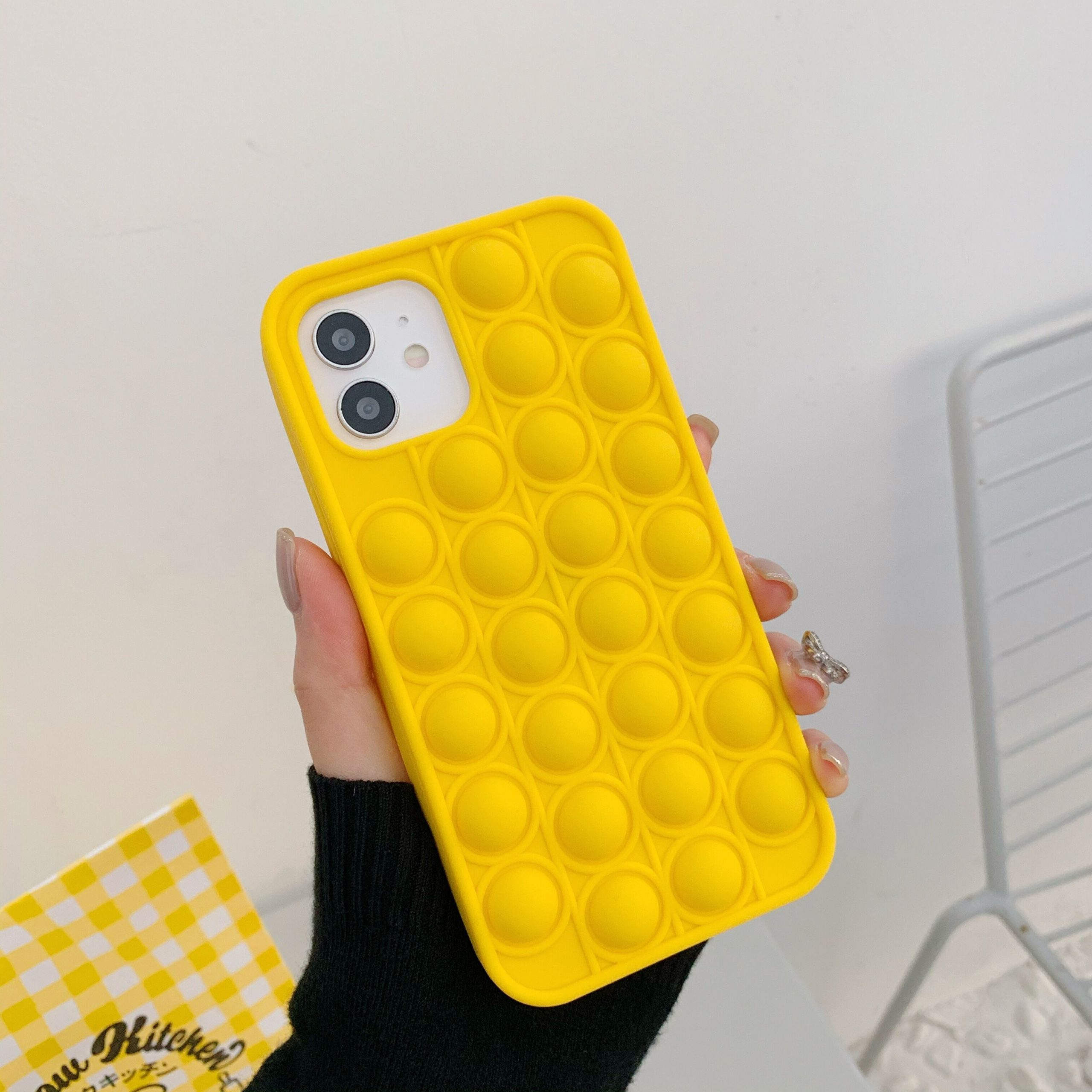 pop it anti stress yellow silicone phone case for iphone fidget toy 7731 - Wacky Track