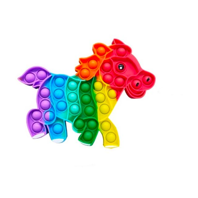 pop it rainbow colored horse shape fidget toy 3383 - Wacky Track