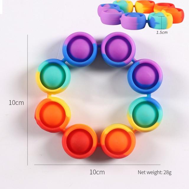 pop it rainbow bracelet fidget toy 6339 - Wacky Track
