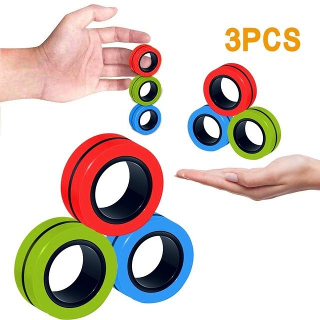 ring fidget magnetic bracelet ring unzip 2 fidget toy 2307 - Wacky Track